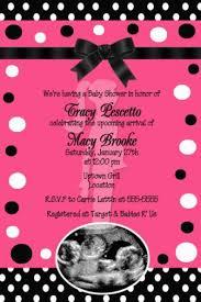 Hot Pink Black White Ribbon Polka Dot Baby Shower Invitation