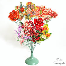 Recycled Flower Paper Recycling Vintage Birthday Cards Into A Paper Flower Bouquet