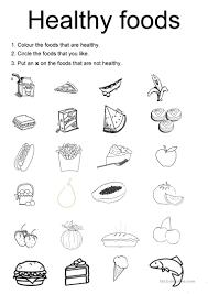 healthy foods   esl worksheets