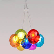 creative modern home art decoration light fixture colorful glass ball pendant lights for dining room restaurant