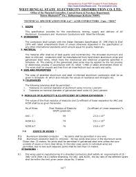Technical Specification Of Acsr Conductor For