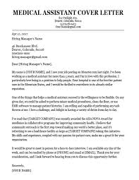 Sample Medical Resume Cover Letter Sample Medical Cover Letter Medical Assistant Cover Letter Sample