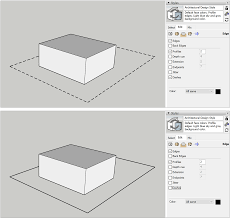 To change the dotted line's coloration, select object and then flatten transparency from the menu bar; Applying Dashed Lines To Tags Sketchup Help
