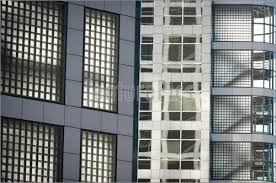 Architectural Details Glass Wall With Office Windows Stock