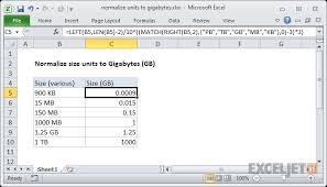 Excel Formula Normalize Size Units To Gigabytes Exceljet