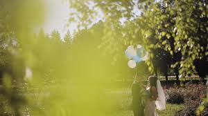 happy groom carryes in hands beautiful blonde bride with balloons sunny summer field background