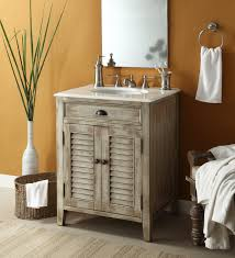 glorious single sink white distressed rustic bathroom vanities with rectangle wall mount mirror added rattan towel basket in small rustic bathroom decors
