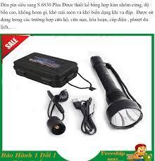 đèn pin siêu sáng 1km, đèn pin mini sạc điện, đèn pin chiếu xa Đèn Pin  RUSSIA S6830 Hộp Đen Full Box, Bảo Hành 12 Tháng - Đèn pin