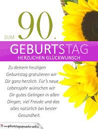 Schlichte Geburtstagskarte Mit Sonnenblumen Zum 90 Geburtstag