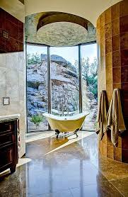 Exterior Window Walls Provide An Intimate View Of The Canyon During Gorgeous Beautiful Master Bathrooms Exterior