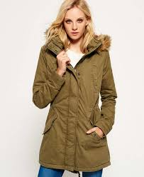 superdry fur hooded winter rookie military parka jacket deepest army superdry bags