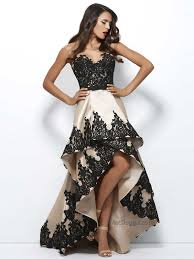 Mac duggal sweetheart velvet column gown with floral organza overskirt. High Low Lace Dress By Mac Duggal Black White Red 61993r Ball Dresses Prom Dresses Lace Evening Dresses