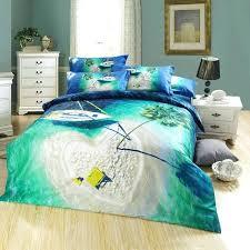 sea green bedding heart shaped island blue ocean palm tree designer queen size bedding set cotton sea green bedding full sheet set