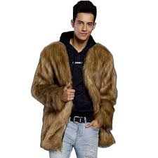 faux fur coat brown v neck long sleeve regular fit winter coat for men brown