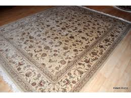 8 x 10 wool and silk white background persian tabriz design rug