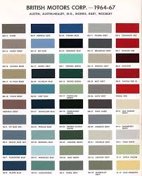 Aston Martin Color Chart Austin Version Of Bmc Paint Color Codes Car Paint Colors