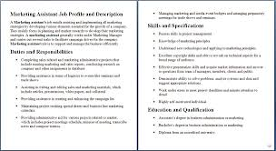 job descriptions for marketing sample of marketing job marketing job description