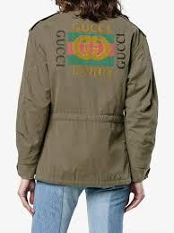 gucci fake logo print military jacket