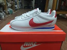 sepatu nike cortez grey leather white red
