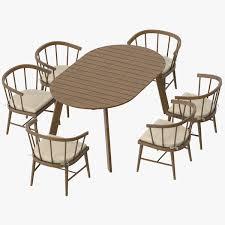 patio esstisch rund und 6 stühle 3d