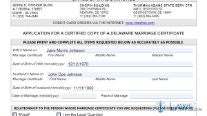 Instruction To Fill Application For A Certified Copy Of A Delaware