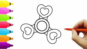 How To Draw And Color Fidget Spinner L Heart Fidget Spinner Kids