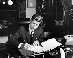 jfk in oval office. White House, Oval Office. President Kennedy Signs The Proclamation For Jfk In Office