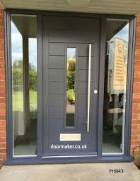 modern front doors. Contemporary Door Grey Central Vision Panel And Frame With Fully Glazed Sidelights Modern Front Doors .