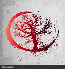 творческие идеи для тату это дерево жизни красный градиент