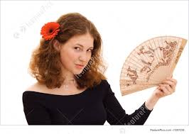 holding hand fan. people: young beautiful woman holding chinese fan hand