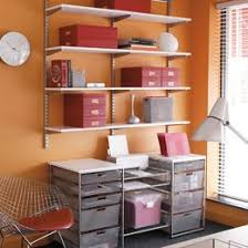 home office storage systems. White \u0026 Platinum Elfa Home Office Storage: I Purchased The White Storage  System Today! Just 3 Shelves To Put All My Photo Boxes And Supplies On. Home Office Systems