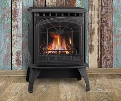 Image Regency Quadrafire Garnet Small Freestanding Gas Stove Shown With Quartet Front In Classic Black And Standard Safety Screen Magic City Stoves Freestanding Gas Stoves