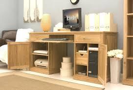 atlas chunky oak hidden home. Hidden Computer Desk Furniture Home Office Solid Oak Twin Pedestal U With Hutch Atlas Chunky O
