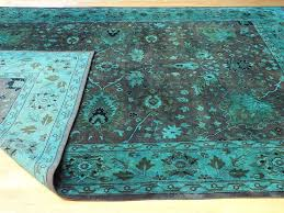 rugsville vintage style overdyed persian blue wool rug 9 x 12