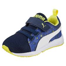 kids puma carson runner running shoes camo boys peacoat white