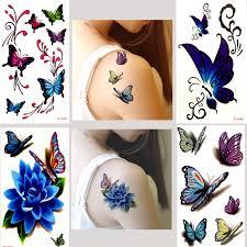 7307 руб 4 шт оригинальный дизайн 3d бабочка цветок поддельные татуировки