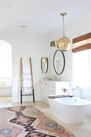 interesting southwestern extra large bath rugs with stylish white oval tub and ladder back stairs for perfect white bathroom ideas