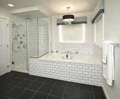bathroom subway tile black grout bathrooms beveled modern tub surround installing bath