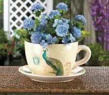PEACOCK Teacup Planter Flower Pot with Saucer