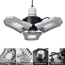 Led Garage Lights Wzto Deformable Led Garage Ceiling Lights 6000 Lumens 60w Cri 80 6000k Trilight Led Lamp Lighting With 3 Adjustable Panels Led