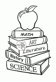 School Books And Apple Coloring Page
