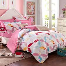 hot pink red white and blue hip hop style abstract fl print bright colorful cotton twin full size cute girls bedding sets