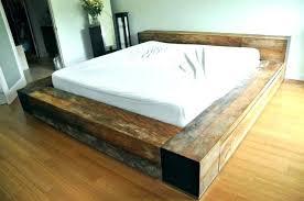 Amazing Distressed Wood Bed Frame Platform Wooden Frames Weathered ...