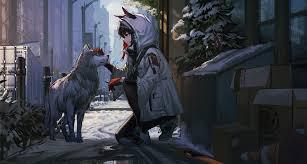 Anime Girl Petting Dog, HD Anime, 4k ...