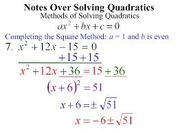 9 notes over solving quadratics methods of solving quadratics factoring method no c term or any that will factor binomialtrinomial4