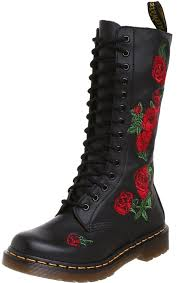 dr martens dr martens vonda black red 14 eyelets leather womens boots women s shoes