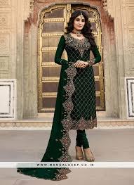Designer Party Wear Churidar Charming Green Color Party Wear Designer Salwar Suit