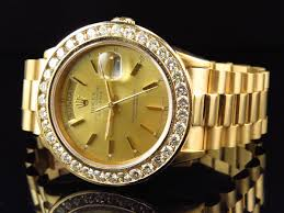 mens 36 mm rolex day date presidential 18038 18k yellow gold mens 36 mm rolex day date presidential 18038 18k yellow gold diamond watch 6 ct
