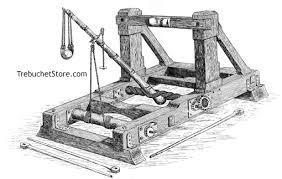 torsion catapult blueprints. catapult with sling. torsion blueprints 1