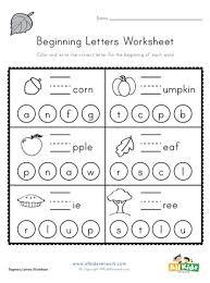 The alphabet (from phonics monster: Fall Beginning Letters Worksheet All Kids Network